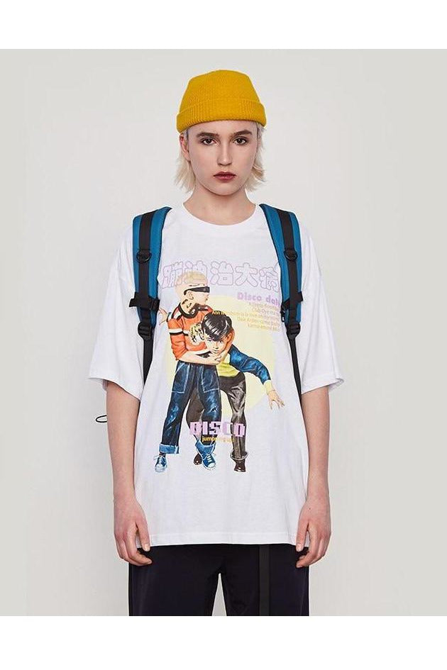 Disco Dance Letter Print Cotton Oversize Tee - SKYCLUB