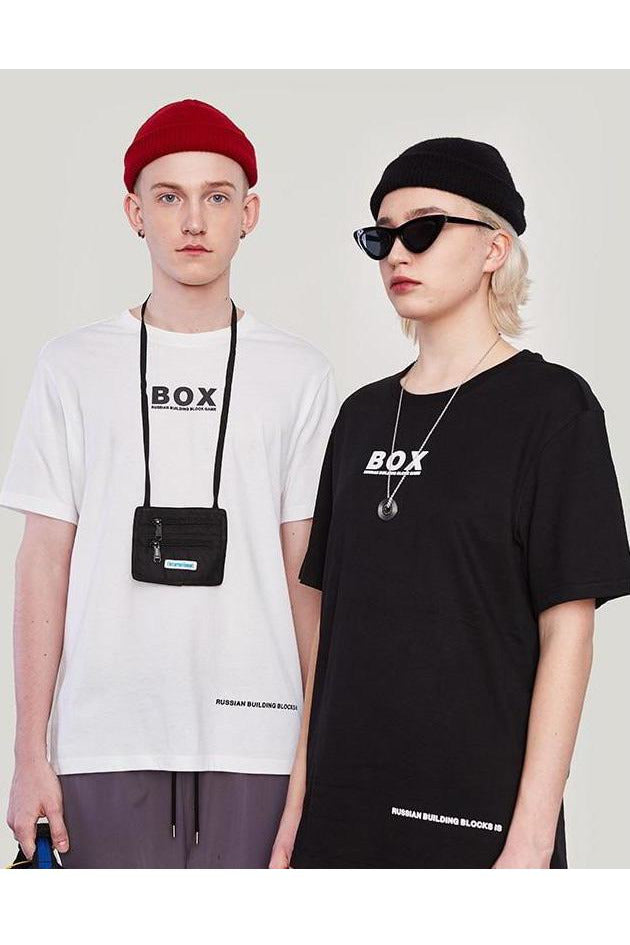 BOX Letter Print Loose Fit O-Neck Tee - SKYCLUB