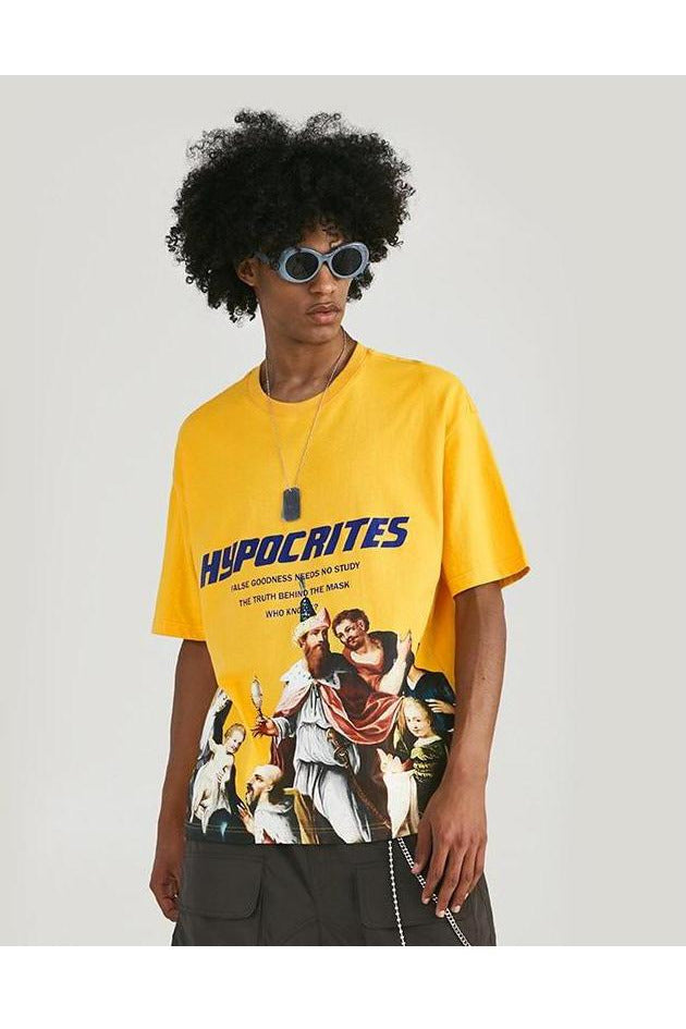 Hypocrites Short Sleeve Loose O-Neck Tee - SKYCLUB