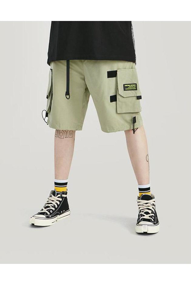 Front Pocket Elastic Waist With Belt Cargo Shorts - SKYCLUB