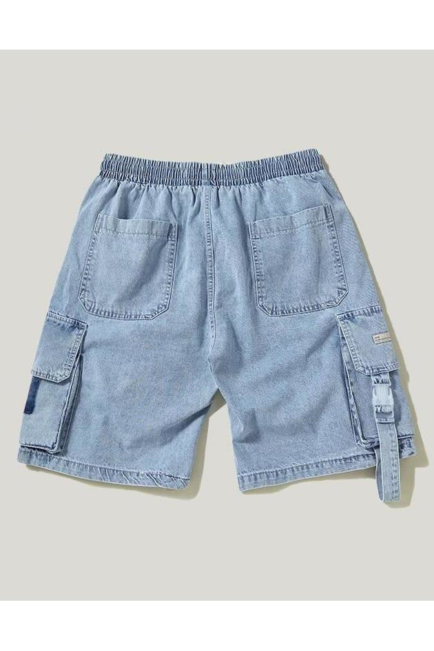 Elastic Waist Cargo Multiple Pockets Denim Shorts - SKYCLUB