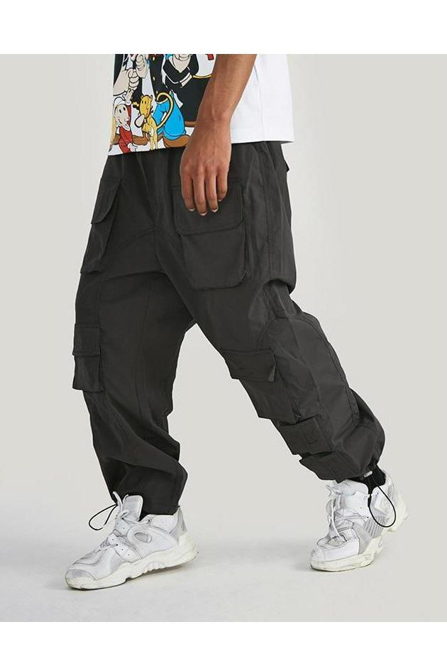 Cargo Multiple Pockets Elastic Waist Beam Feet Pants - SKYCLUB