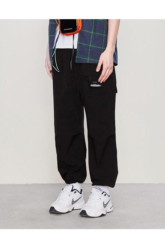 Windbreaker Straight Loose Fluorescent Drawstring Pants - SKYCLUB