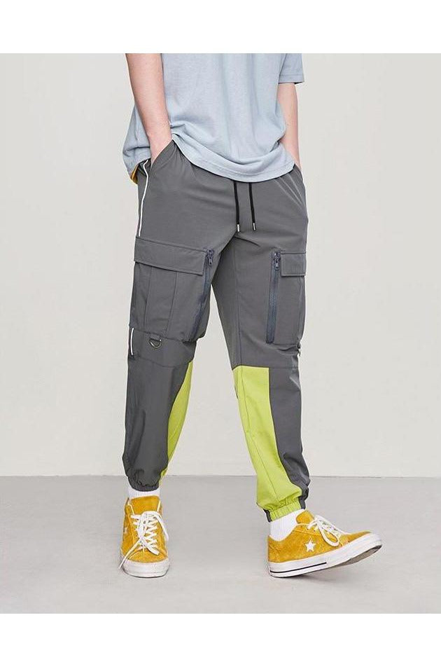 Cargo Color Stitching Zipper Multiple Pocket Pants - SKYCLUB