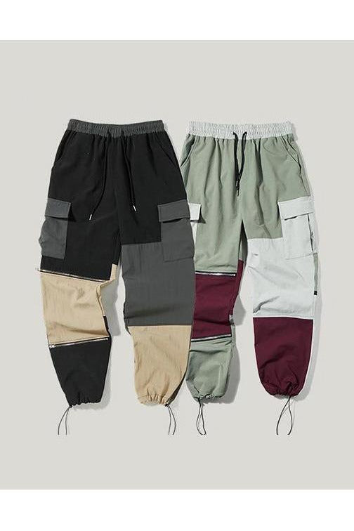 Cargo Color Stitching Multiple Pockets Trouser Pants - SKYCLUB