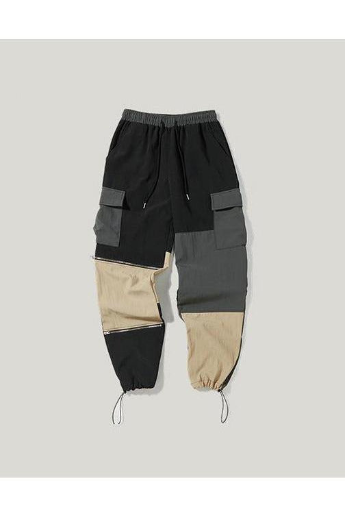 Loose Fit Patchwork Pockets Multi Color Cargo Pants - SKYCLUB