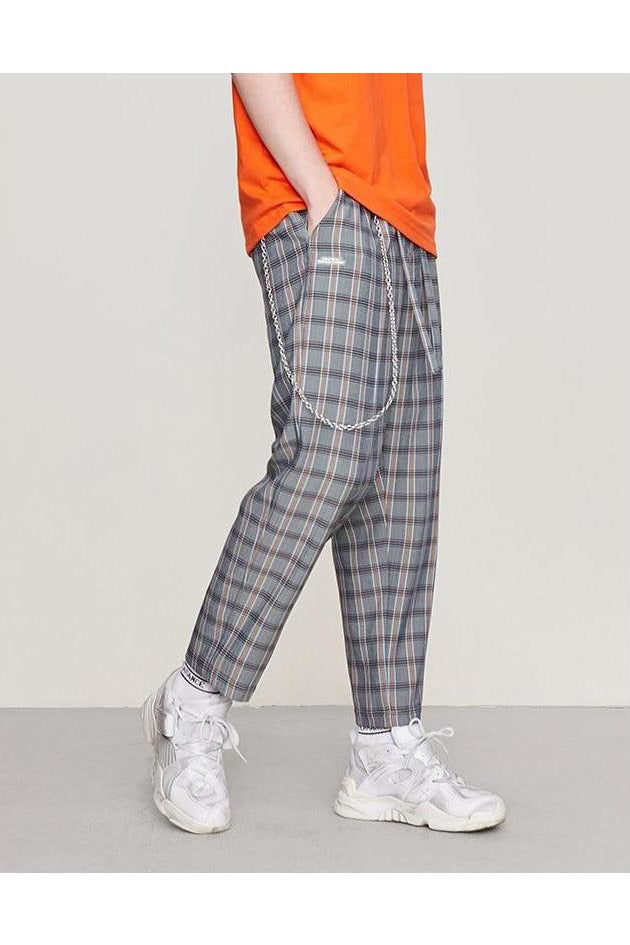 Plaid Straight Elastic Waist Trouser Pants - SKYCLUB
