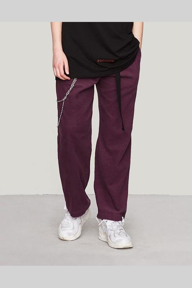 Velvet Straight Trousers 100% Cotton Elastic Waist Pants - SKYCLUB