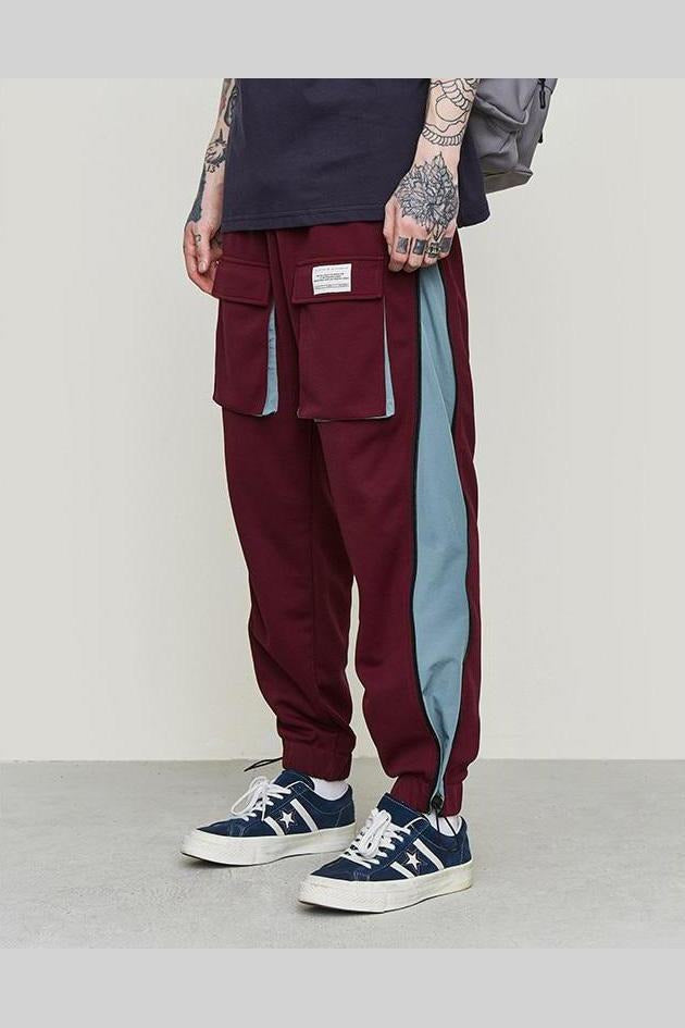 Windbreaker Sweatpants Color Stitch Pants - SKYCLUB
