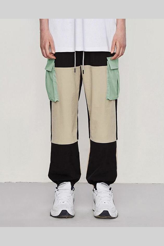 Windbreaker Trousers Color Stitching Side Pockets Pants - SKYCLUB
