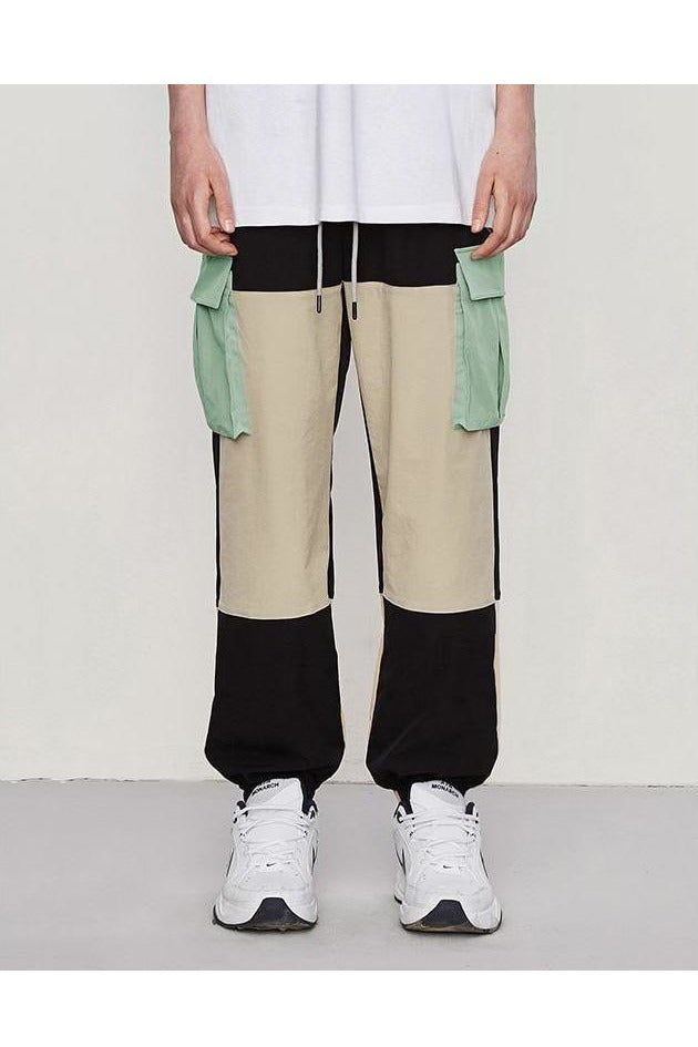 Windbreaker Color Stitching Side Pockets Loose Fit Cargo Pants - SKYCLUB