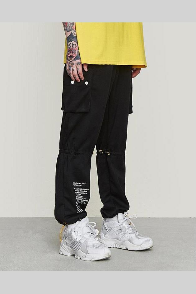 Loose Windbreaker Drawstring Multiple Pocket Pants - SKYCLUB
