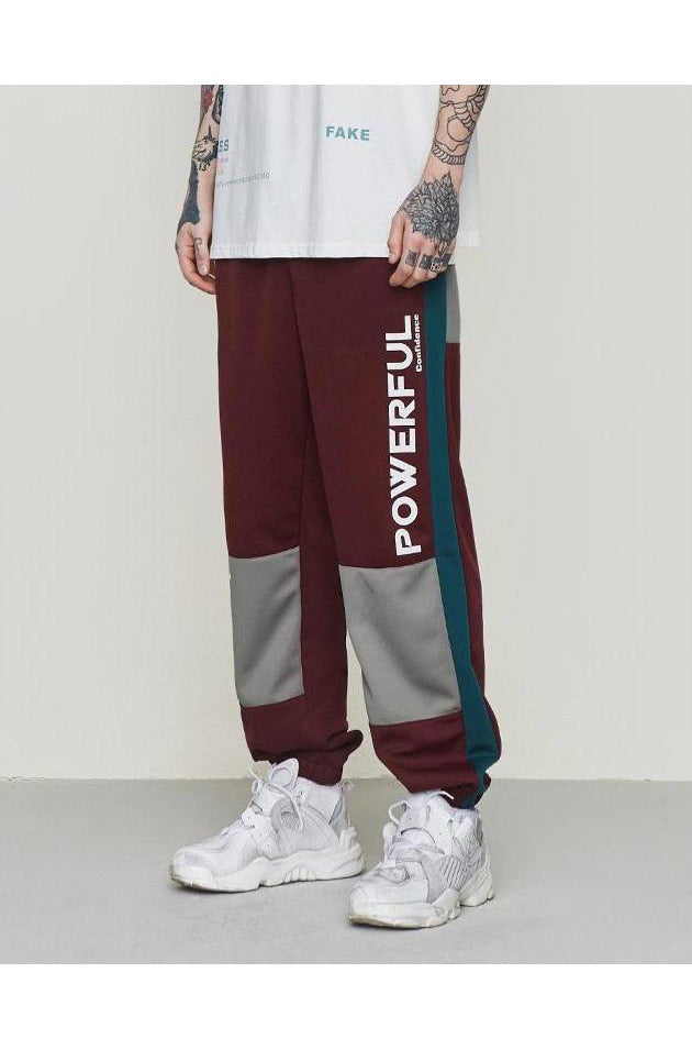 Sweatpants Color Stitching Printing Elastic Waist Pants - SKYCLUB