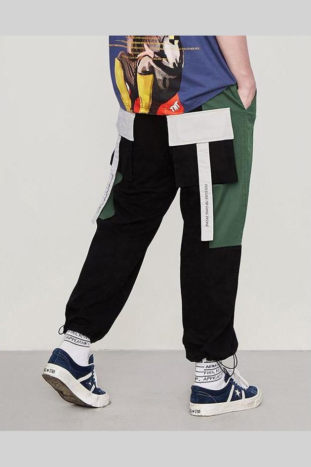 Windbreaker Multiple Pockets Color Stitching Pants - SKYCLUB