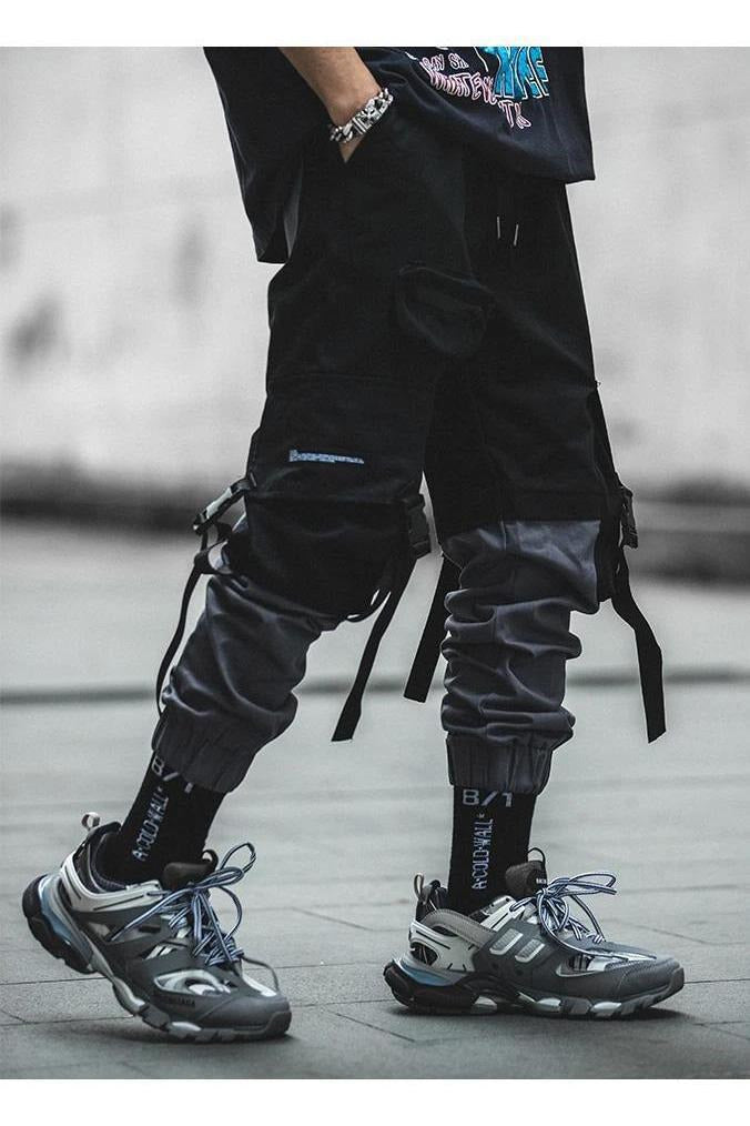 Strap Patchwork Cargo Joggers Pants - SKYCLUB