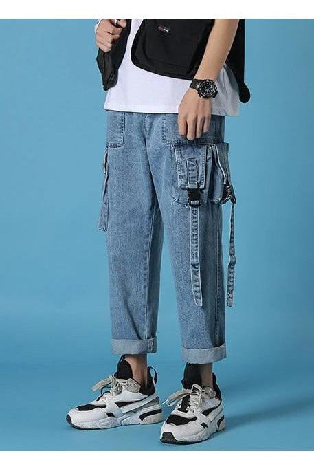 Denim Straight Harem Blue Trousers Pants