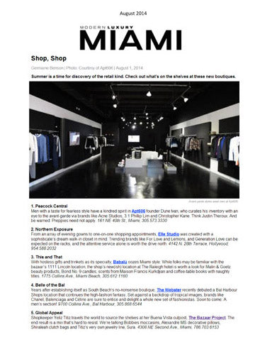 The Bazaar Project Press - Miami Modern Luxury-August