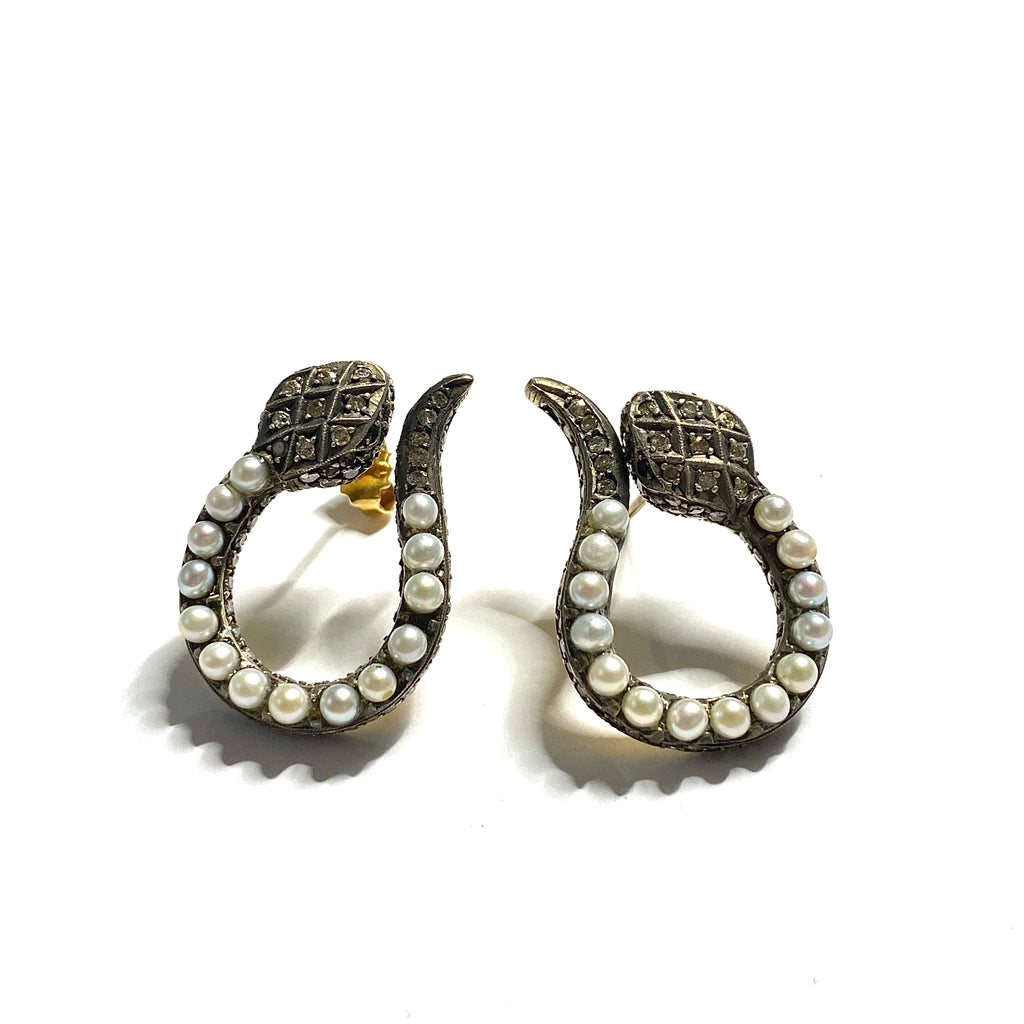 Pearl & Diamond Snake Earrings
