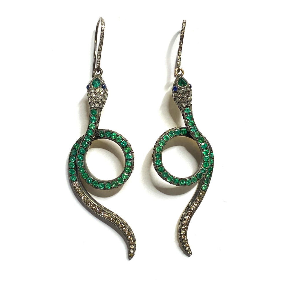 EMERALD SNAKE EARRINGS