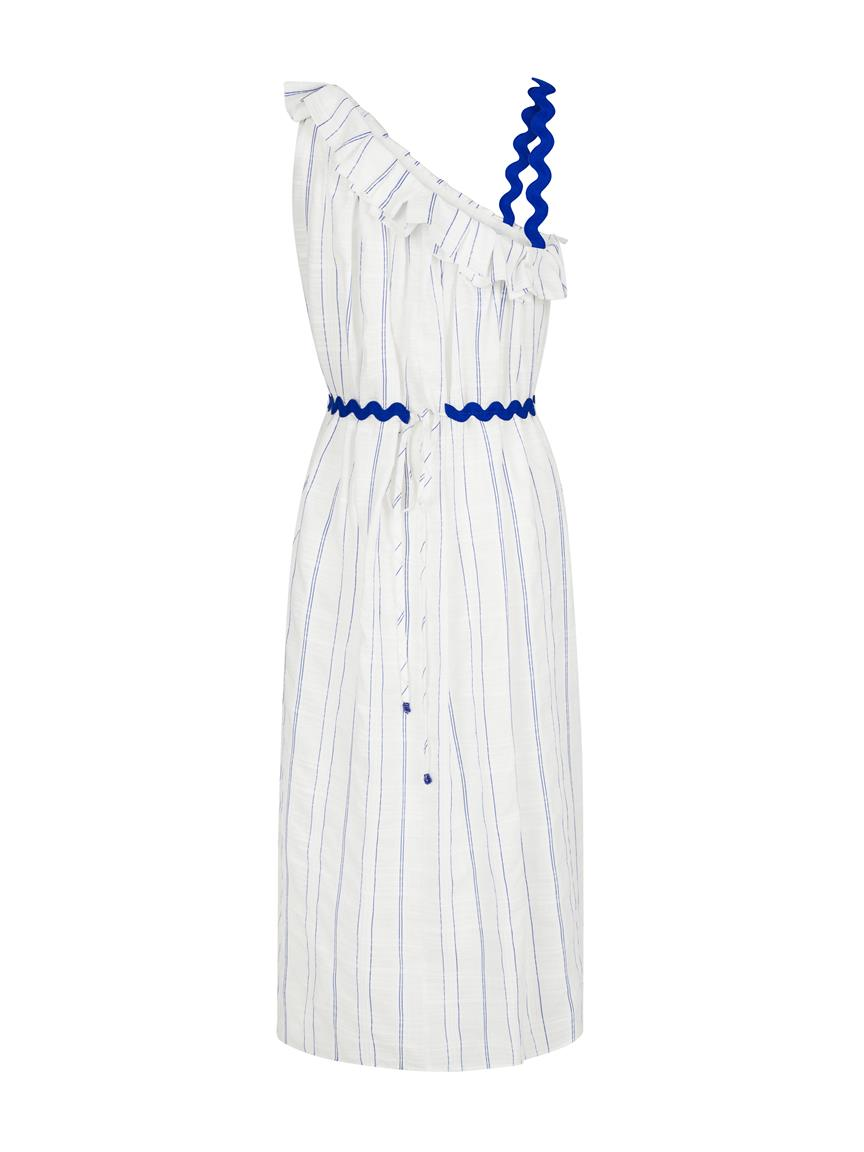 EXQUISE WHITE/BLUE STRIPES DRESS - ONE SHOULDER