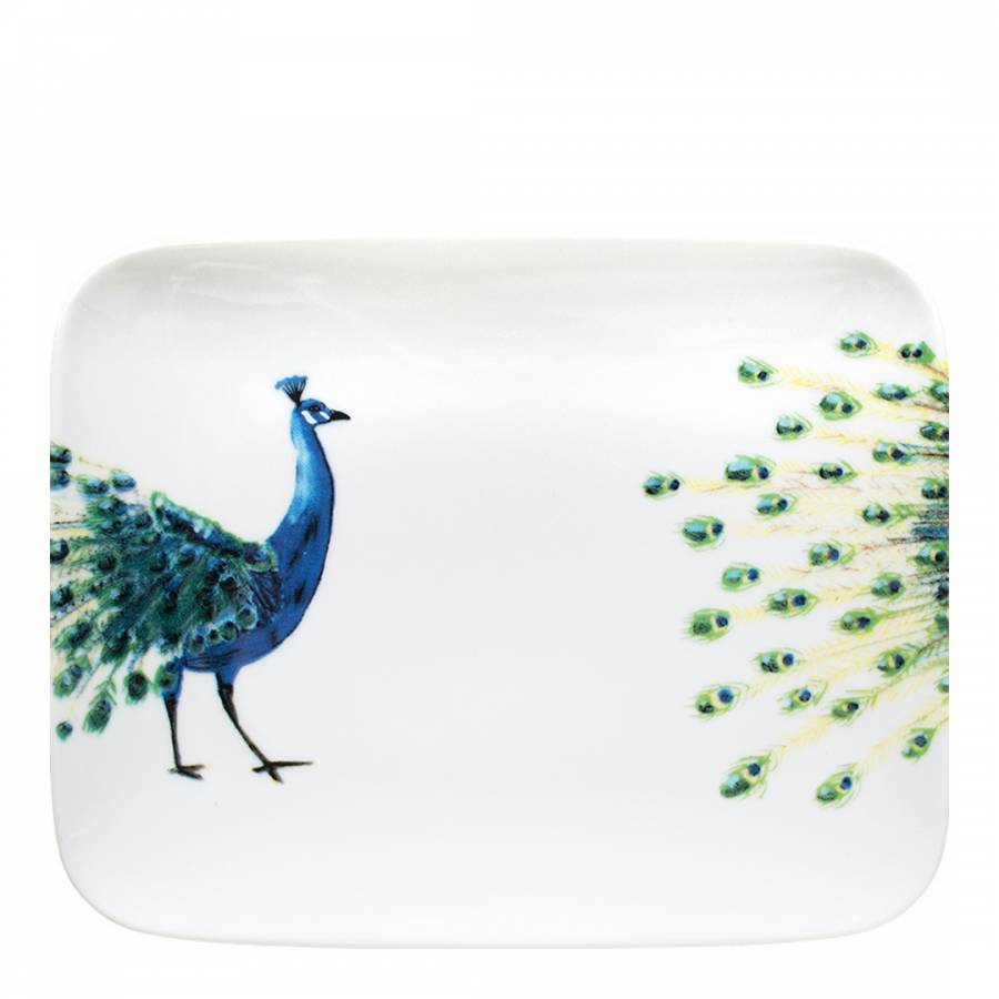 PEACOCK RECTANGLE DINNER PLATE
