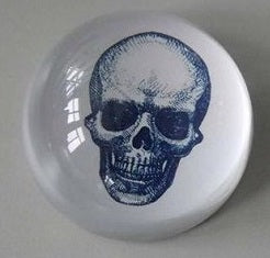 SKULL GLASS PAPERWEIGHT