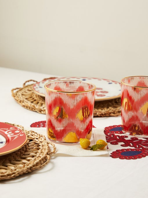 IKAT GOLD WATER GLASSES (SET OF 2)