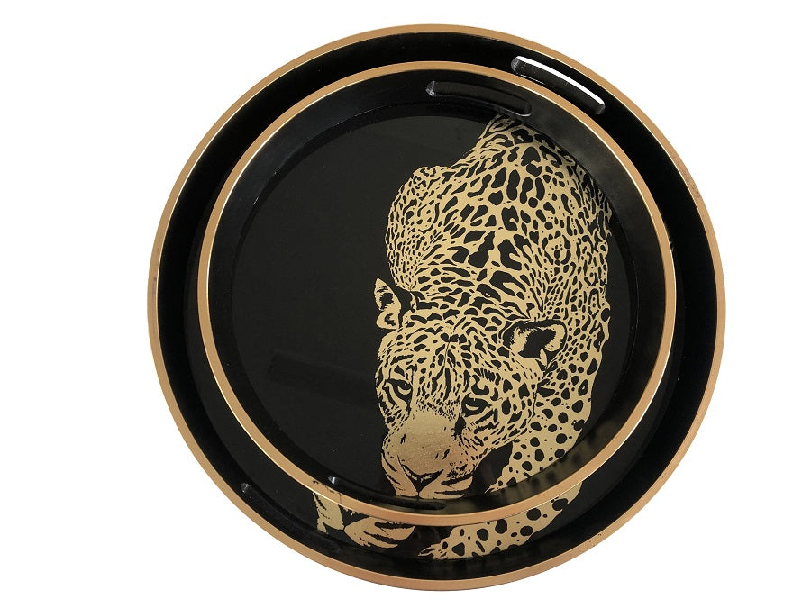 LEOPARD ROUND TRAY - SET OF 2