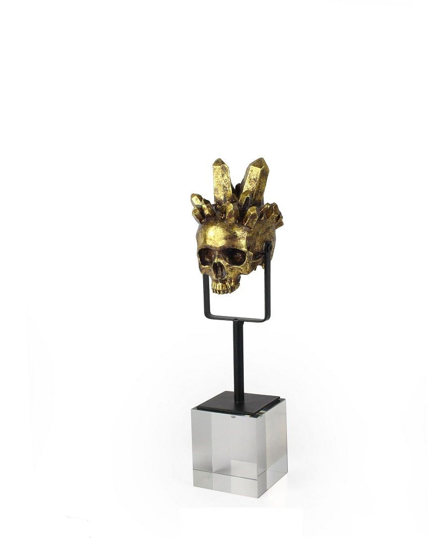 GOLD SKULL ON GLASS BASE