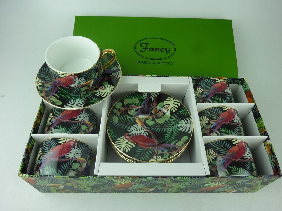 SET OF 6 TEA CUP TROPICAL BLACK