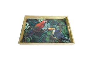 WOODEN PARROT TRAY TROPICAL
