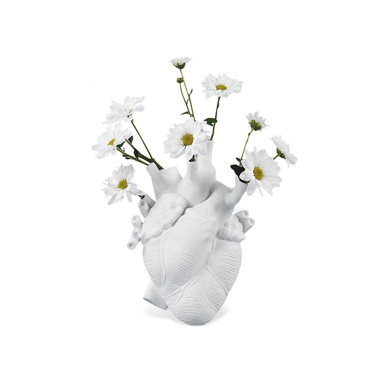 """LOVE IN BLOOM"" WHITE PORCELAIN HEART VASE"