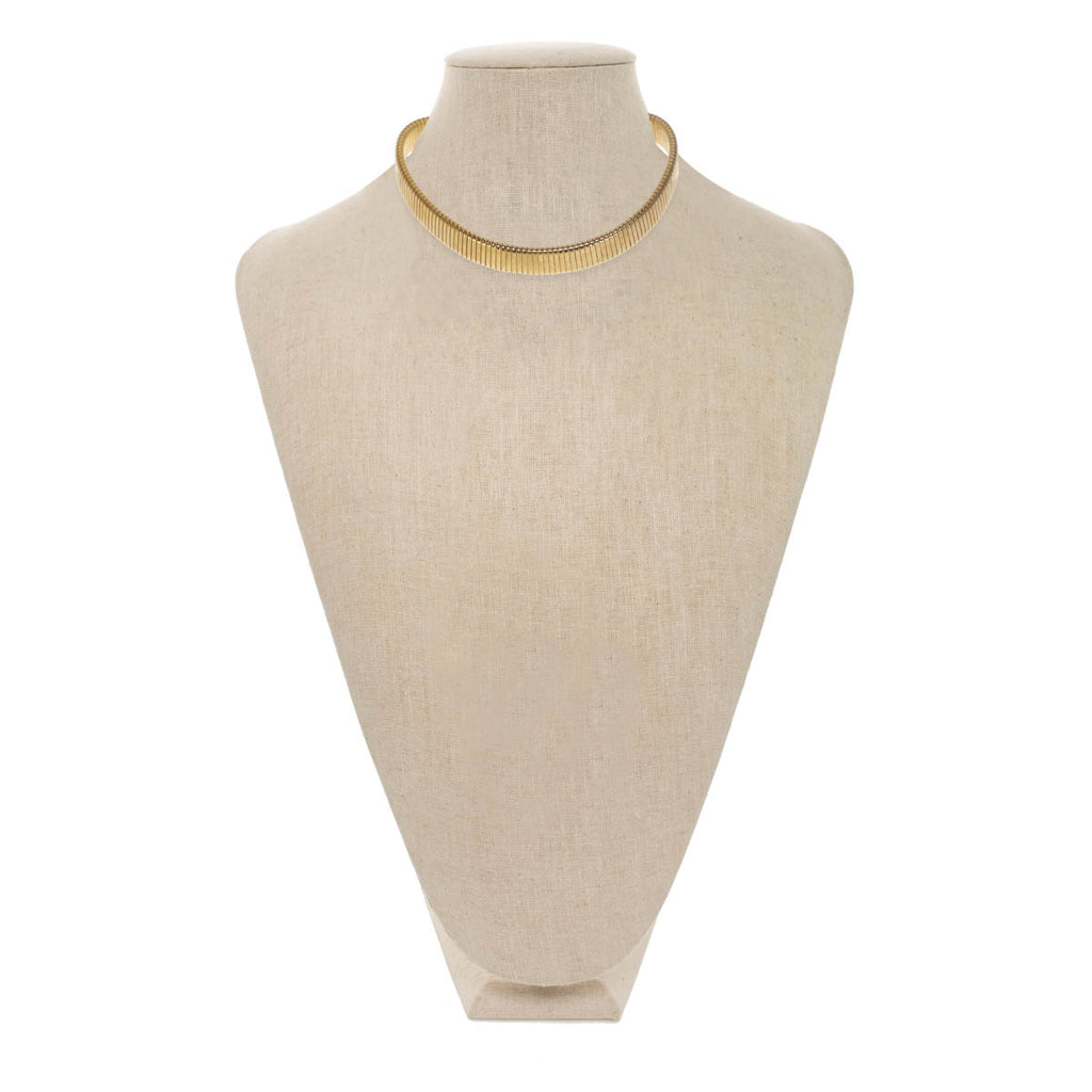GOLD OMEGA RIBBED NECKLACE Ribbed Necklace
