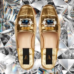 ODETTE CROCO DELUXE GOLD SLIPPERS