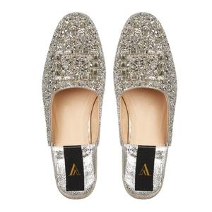ODETTE CROCO DELUXE SILVER SLIPPERS