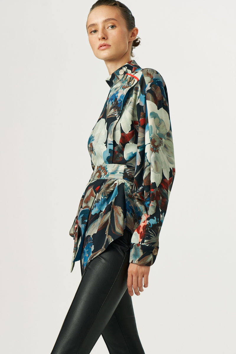 BELTED PATTERNED BLOUSE