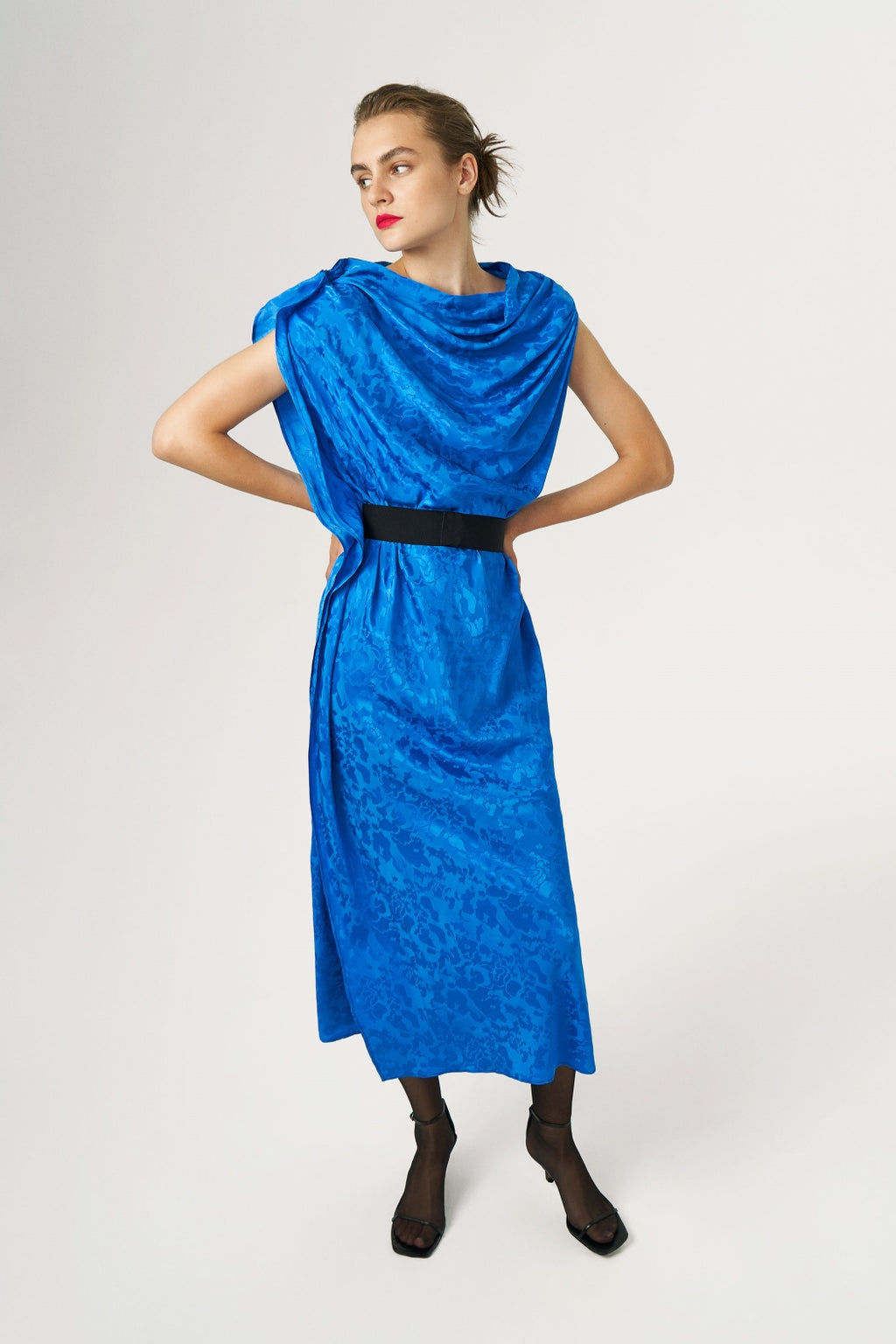 JACQUARD SATIN DRESS