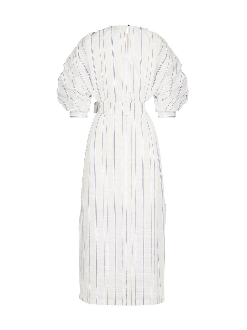 EXQUISE WHITE/BLUE STRIPES DRESS