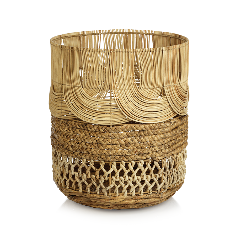 MALACCA MULTI-WEAVE RATTAN & WATER HYACINTH BASKET