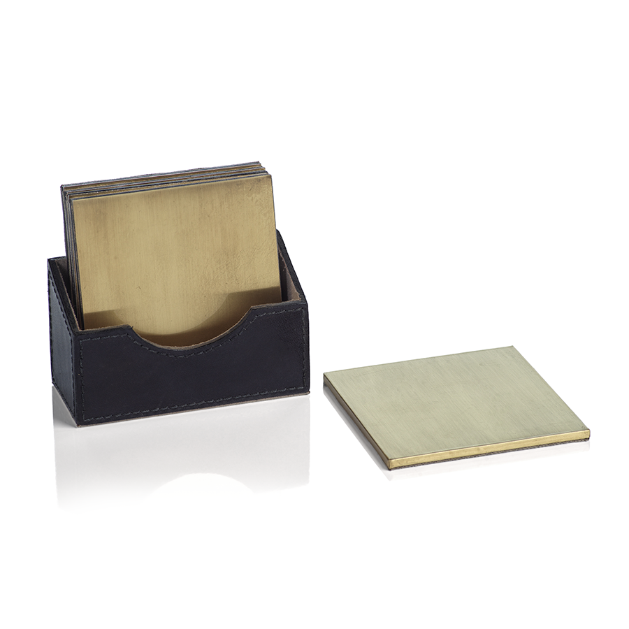 UMBRA GOLD LEATHER COASTERS - SET OF 4