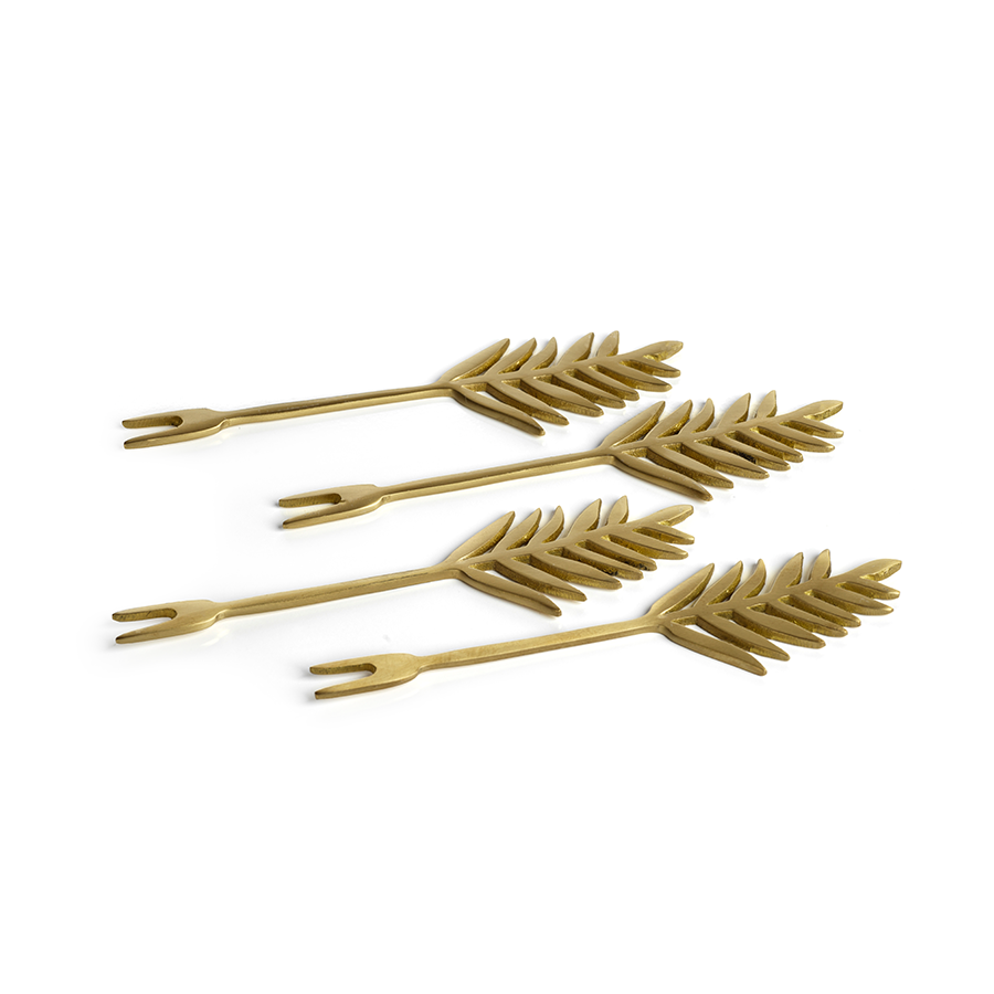 PALM COCKTAIL GOLD FORKS - SET OF 4