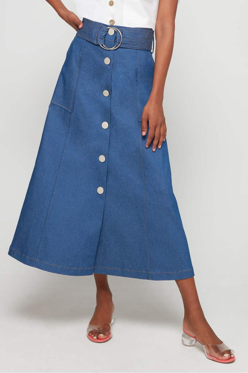 DENIM JEAN BELTED SKIRT