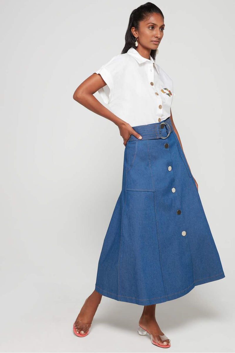 JEAN BELTED SKIRT