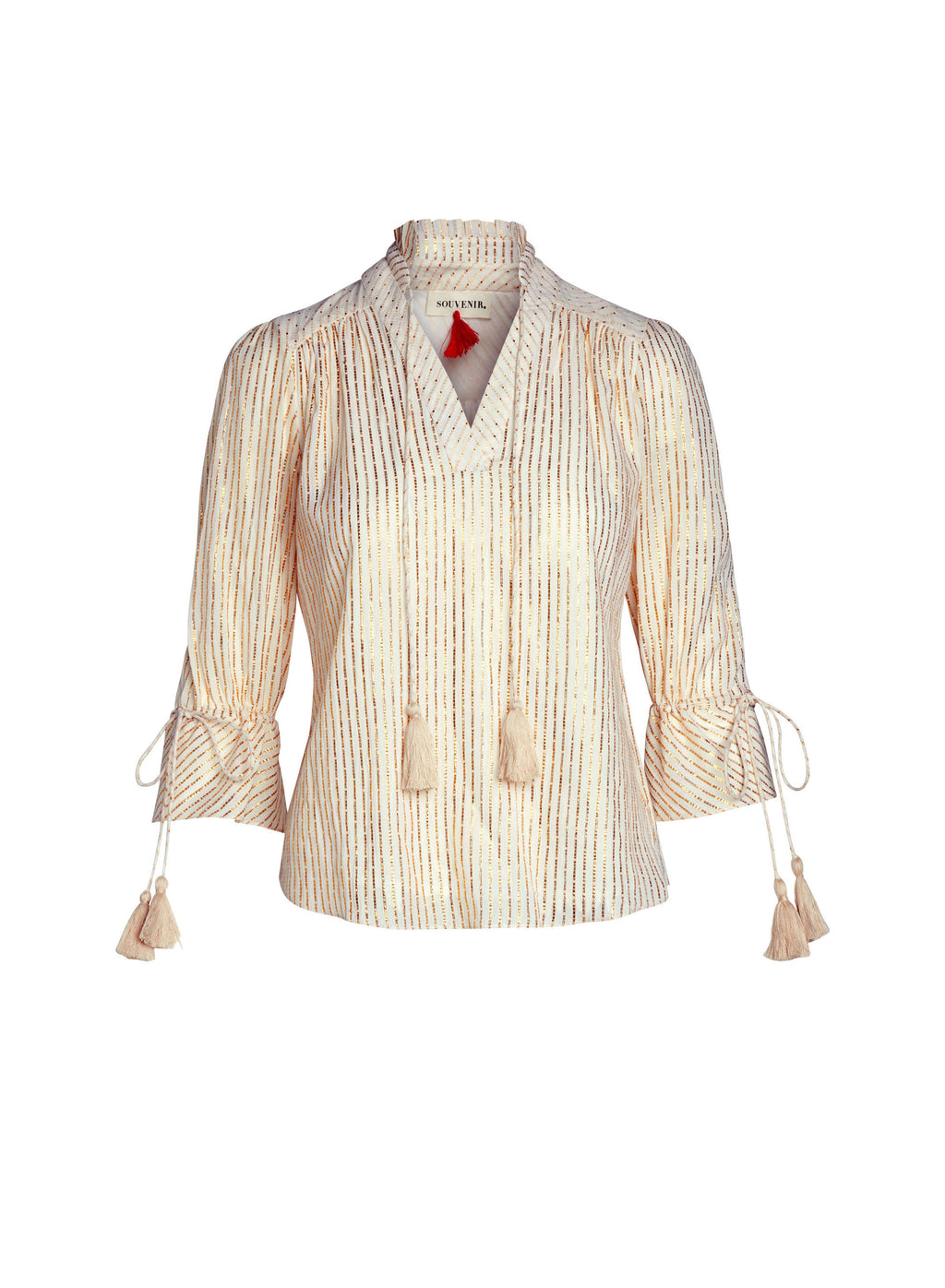 GOLD METALLIC STRIPE BLOUSE TOP