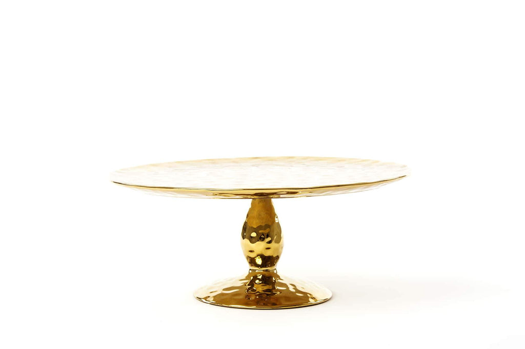 "SELETTI Porcelain Cake Stand ""Fingers"" - Gold"