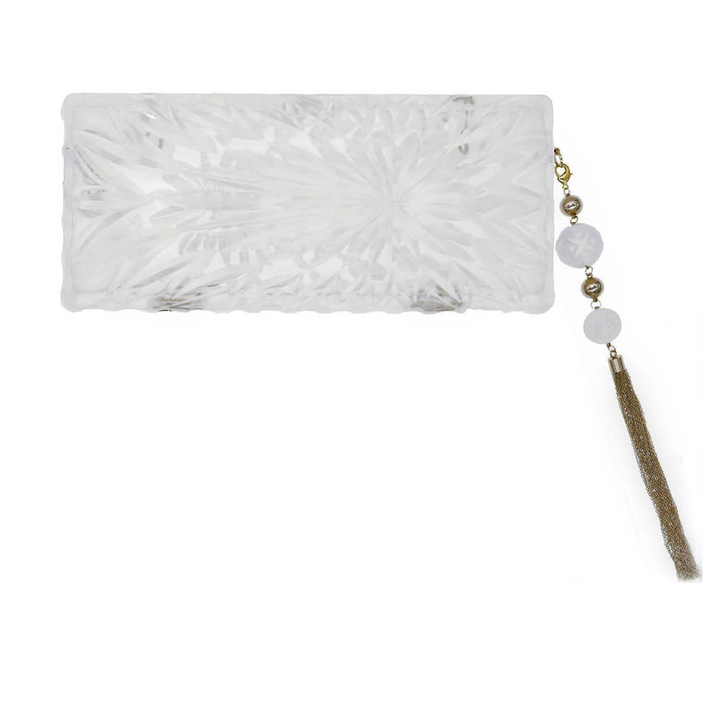 DOUGLASPOON Long Resin Clutch With Gold Plated Parts - Vintage Clear