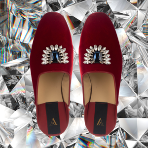ODETTE DELUXE RED VELVET SLIPPERS