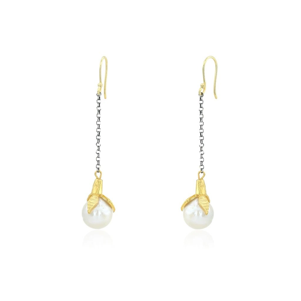 SMYRNA CHAIN PEARL EARRINGS