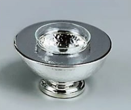 SILVERPLATED CAVIAR SERVER WITH GLASS INSERT