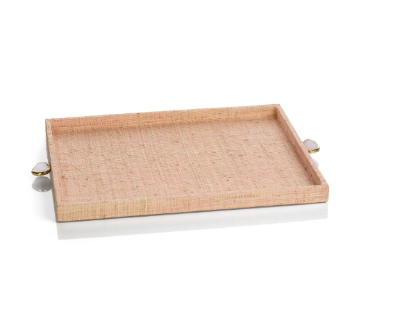 RAFFIA PALM TRAY WITH STONE ACCENT- BLUSH